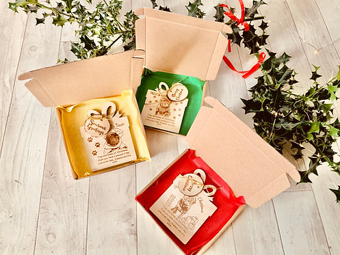 3 x Personalised Wooden Dog Xmas Cards