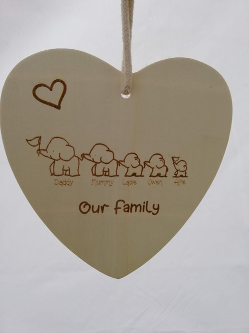 Personalised Plaque-Elephant Family