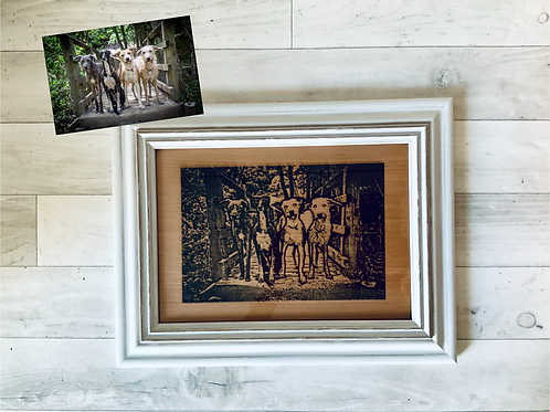 Framed Wooden Engraved Photo- various Size options