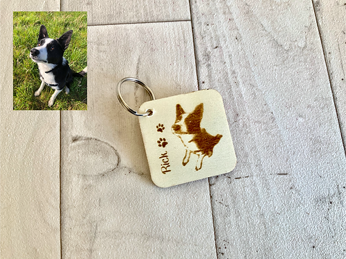 Wooden Square 5cm Personalised Photo Keyring