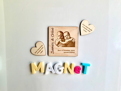 Wooden Baby Photo Magnet Boxed Gift