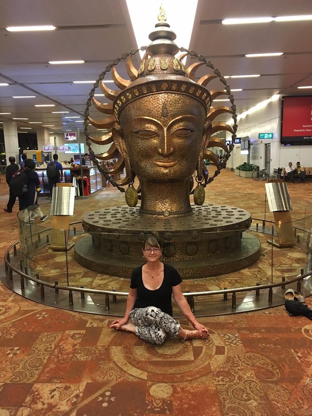 meditation at Delhi airport