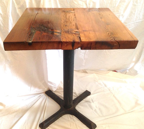 2x2 reclaimed barn wood restaurant style table with metal base