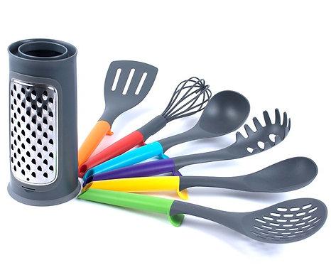 Set de utensilios de cocina con rayador para queso, frutas o verduras