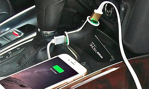 Cargador powerbank dual para coche bateria externa con linterna