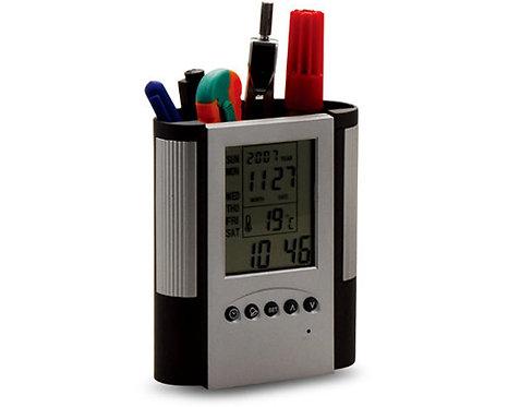 Reloj Alarma Termometro Con Caja Para Escritorio Porta Cel