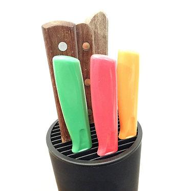 Soporte de cuchillos cilíndrico con protector de filo