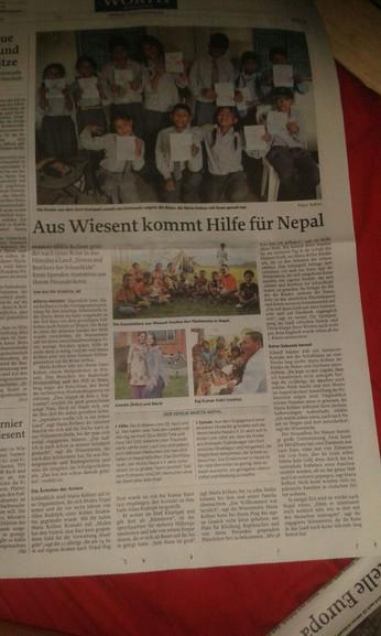 Zeitungsartikel über Marias Aufenthalt in Kharipati