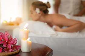 Environment spa massage therapy at luxury spa salon with aromatherapy candles, beautiful f