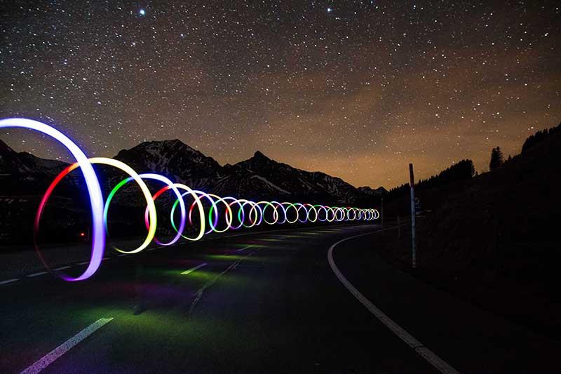 Spiral lights on road