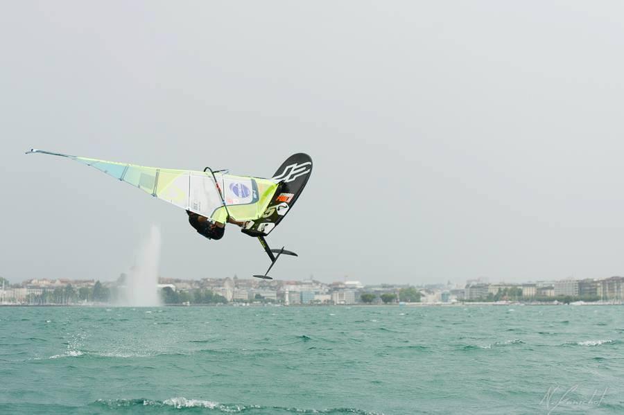 Julien Bontemps jumping high on his neilpryde windsurf foil