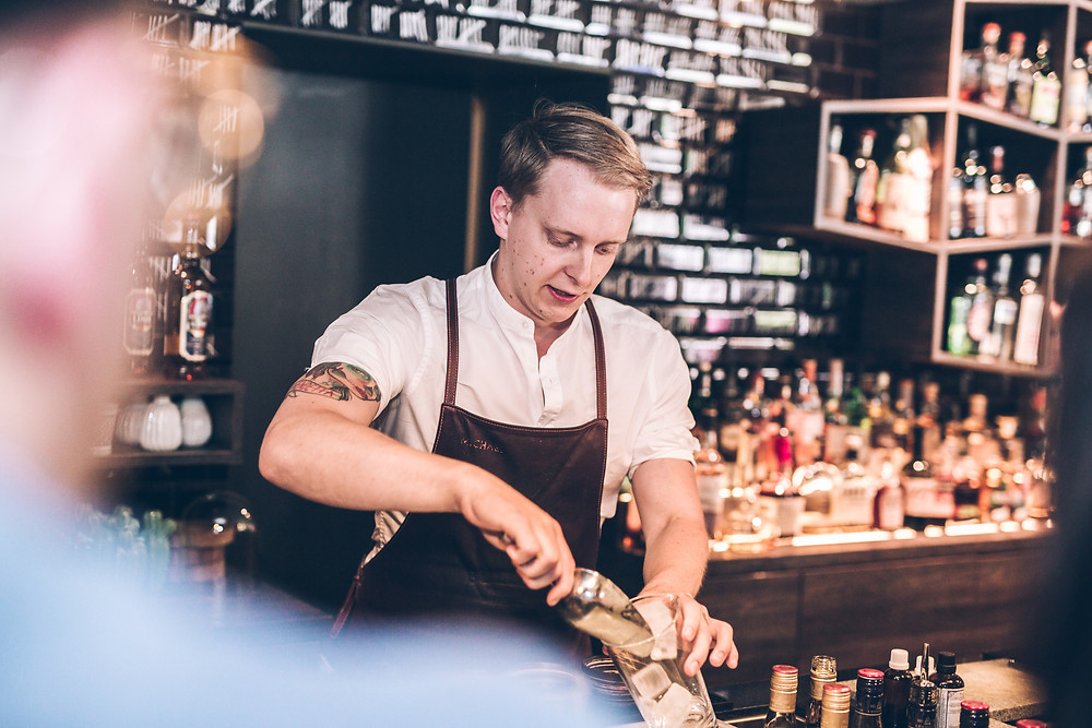 Michael behind the bar