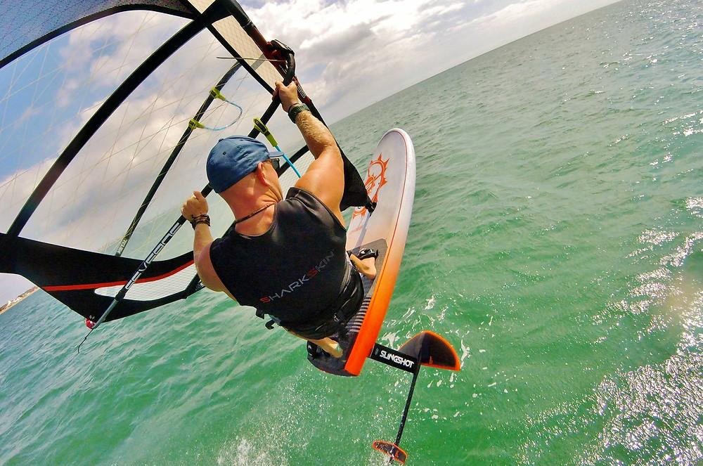 foil windsurf jump