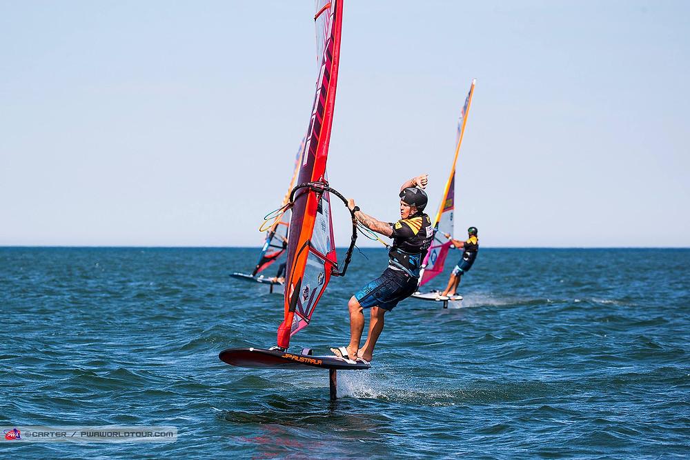Amado winning his windfoil hit on the costa brava