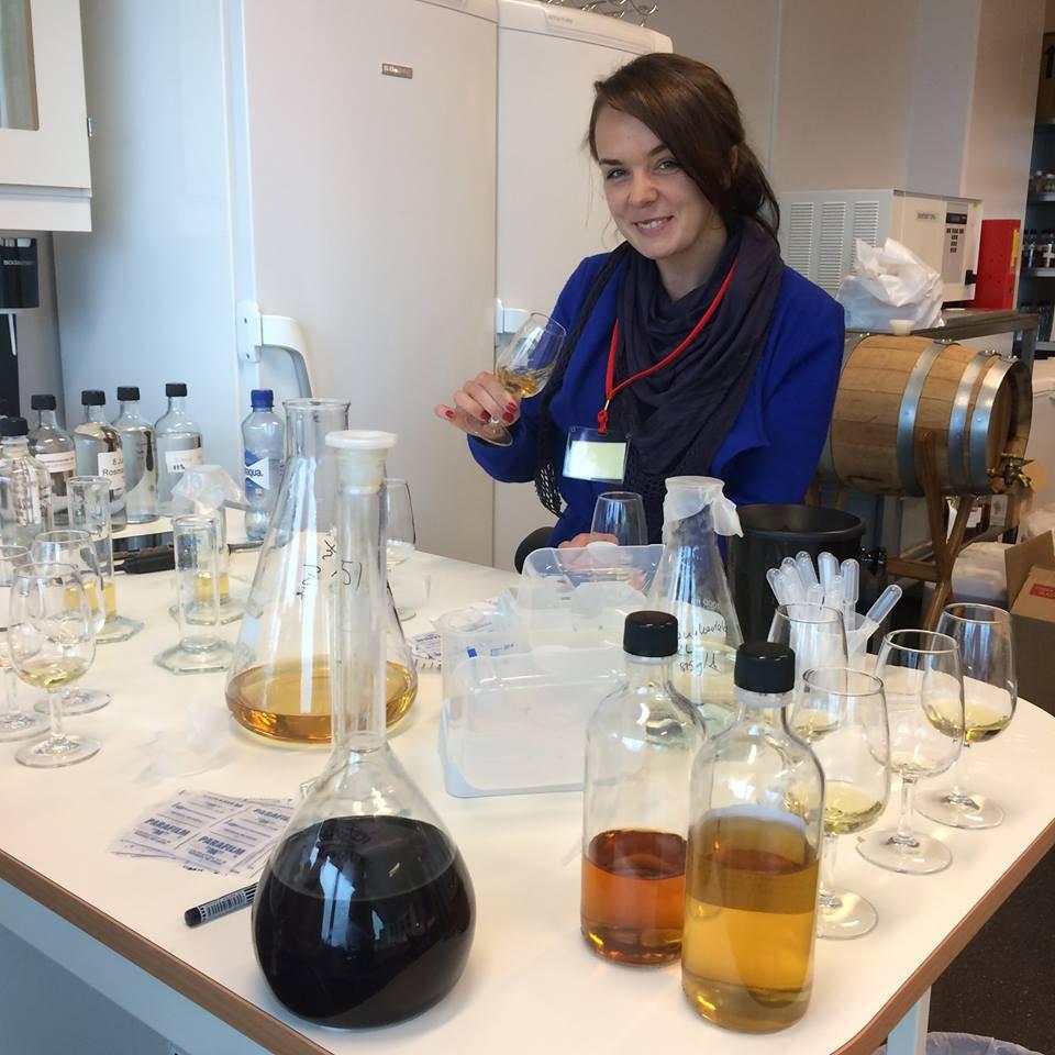 Irina working on her aquavit blend at Arcus' lab