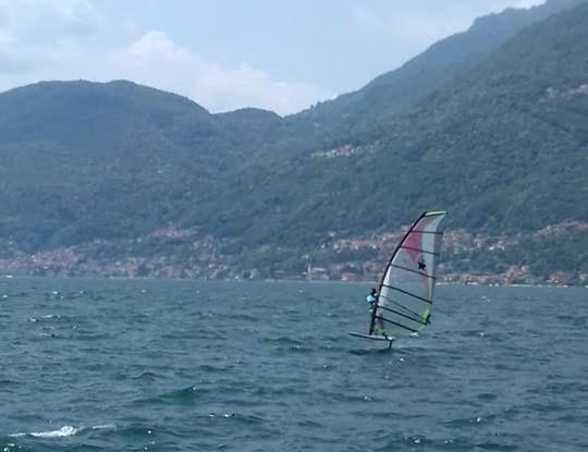 windfoil on the lake Como