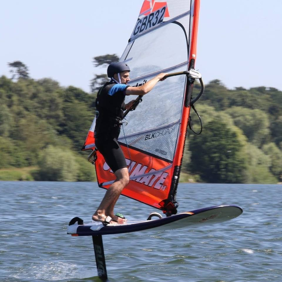 Jason clarke on his windfoil
