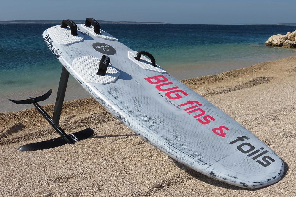 BUG carbon windsurf hydrofoil on the beach