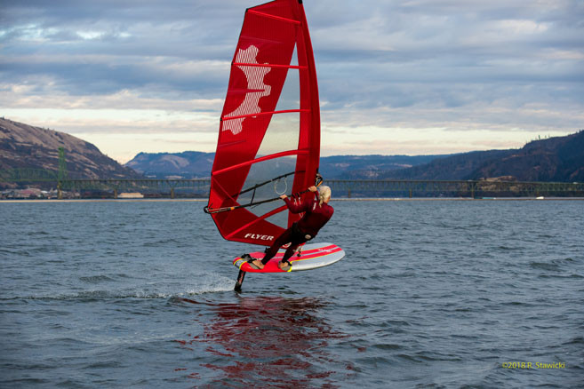 Bruce peterson on Flyer windfoil sail