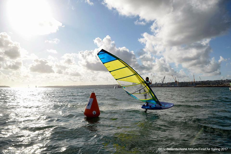 Foiling jibe on exocet windfoil board