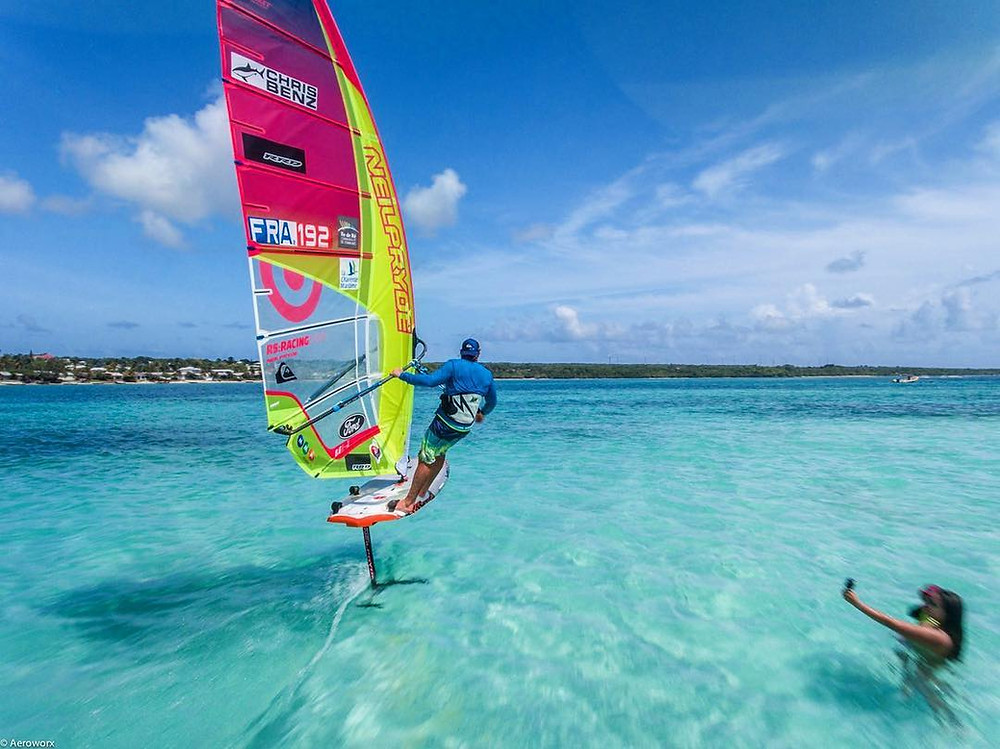 Cruising on Antoine Albeau's windsurf foil