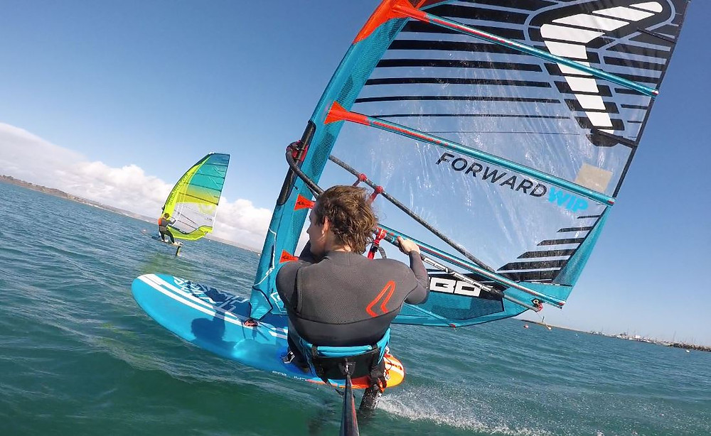 Sam Ross teaching windfoiling