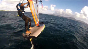 Foiling strapless on a windfoil