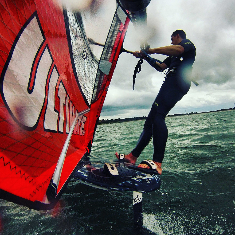 Jason Clarke in the footstraps above the Bug hydrofoil