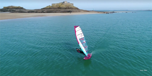 William Huppert foil windsurfing in his home spot