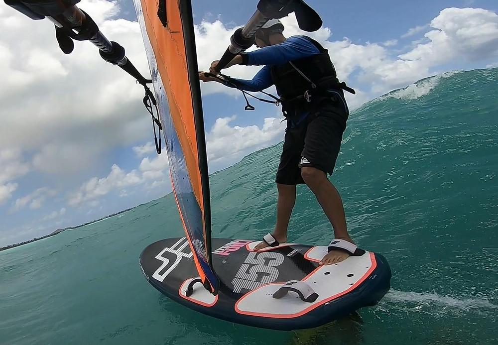 Bryn Kaufman foiling in kailua bay