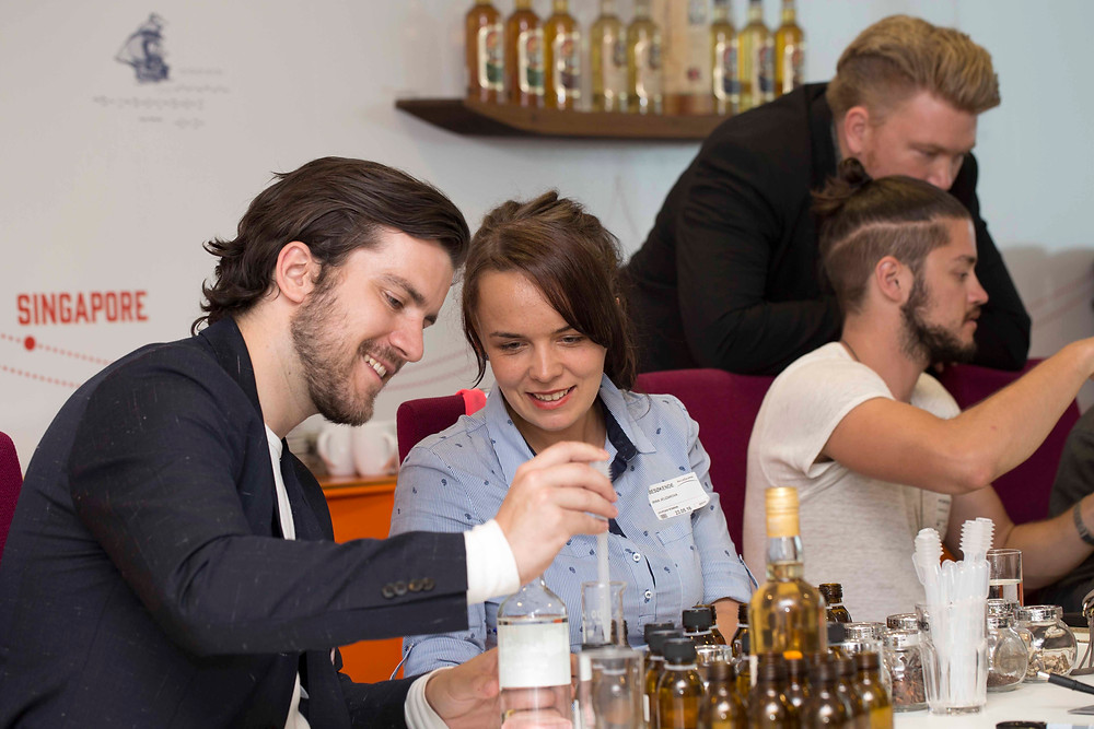Martin Palmberg Clausen and Irina in the blending session with other finalists.