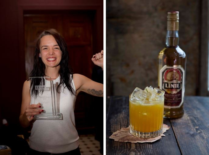 Just after the victory at Linie the Journey 2016. Picture of Golden Milk, Irina's aquavit cocktail creation.