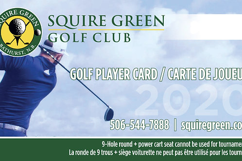 Player card - 2 Green fees + 2 cart seats + 4 large buckets of balls