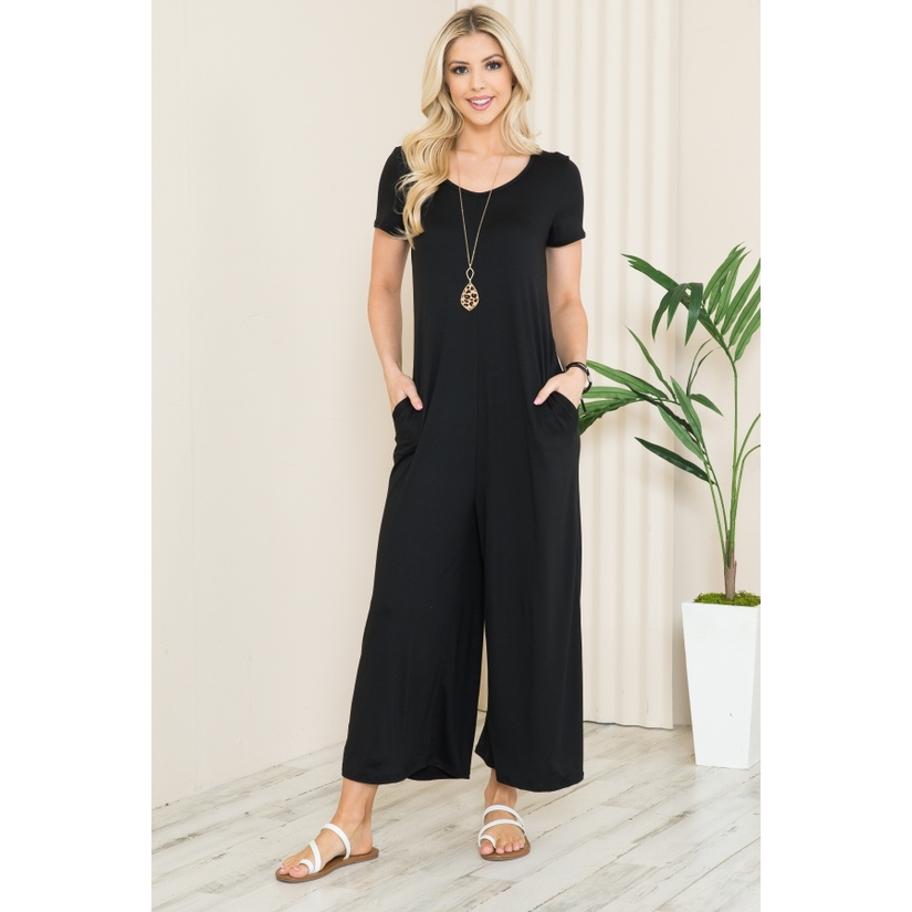Solid Short Sleeve V Neck Jumpsuit with