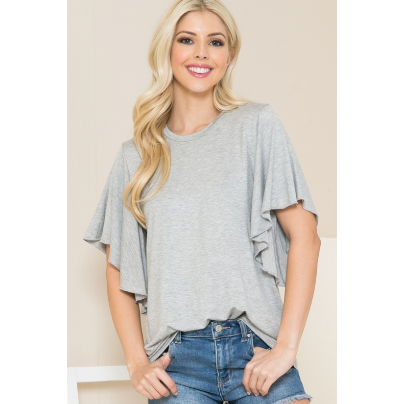 Solid Short Butterfly Sleeve Round Neck