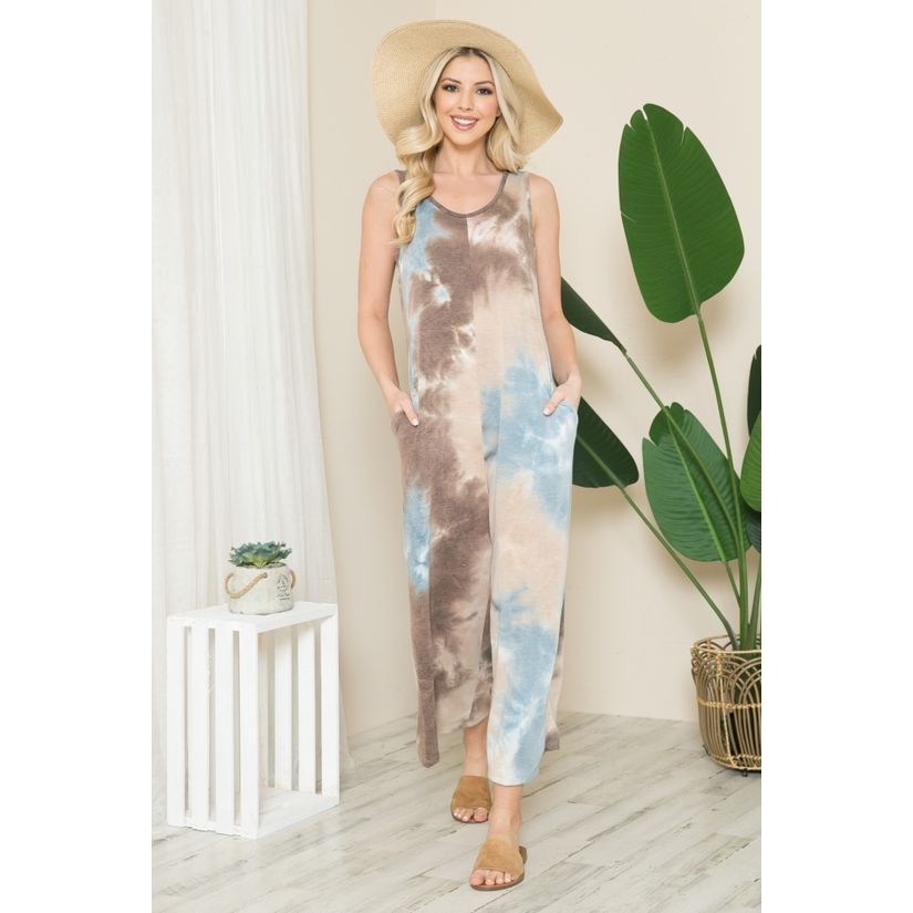Tie Dye Sleevelss Wide Leg Jumpsuit