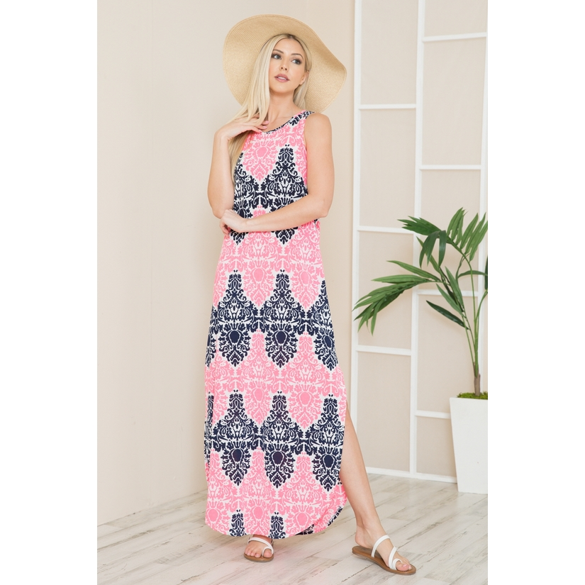 Geometric Sleevelss Maxi Dress with Side