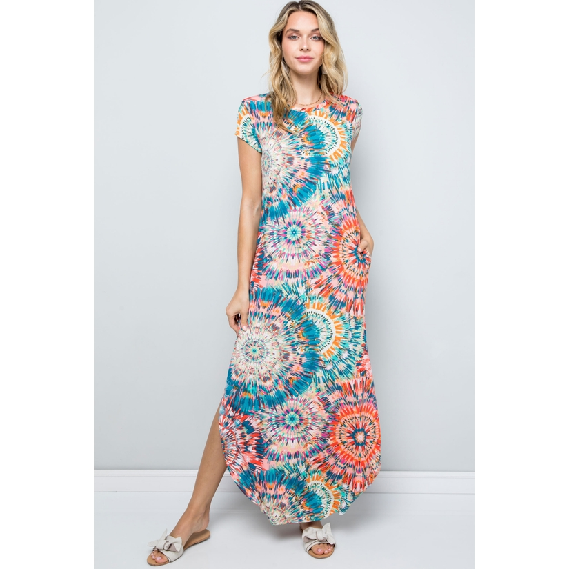 Geometric Short Sleeve Round Neck Maxi D