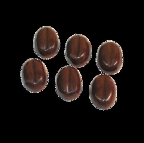 שישה פרלינים משוקולד מלא מריר בצורת פולי קפה
