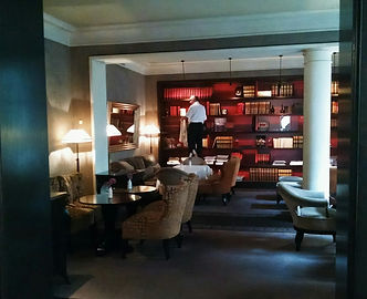 Pavillon de la Reine hotel in Paris, interior library and lounge, image by Holman Photography