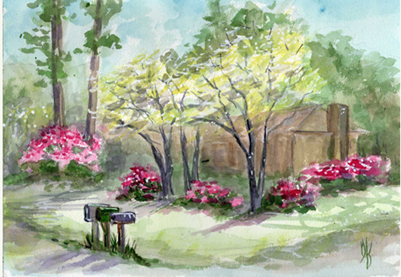 azaleas and mailboxes