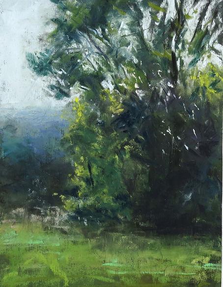 Fog on the Ridge color study 6x8 pastel.