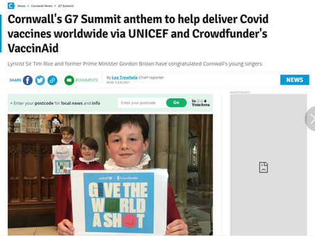 Cornwall Live: Cornwall's G7 Summit anthem to help deliver Covid vaccines worldwide via UNICEF...
