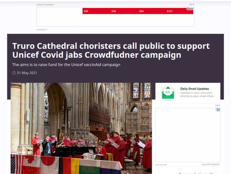 In Your Area: Truro Cathedral choristers call public to support Unicef Covid jabs Crowdfunder