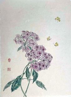 'Hydrangea and three Butterflies'