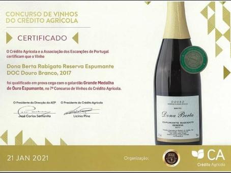 Galardão Grande Medalha de Ouro Espumante. Dona Berta  Espumante Rabigato Reserva 2017!