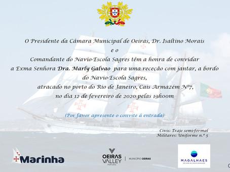 Oeiras recepciona autoridades e empresários em jantar no Navio  Sagres.  Sra. Marly Galvão presente.