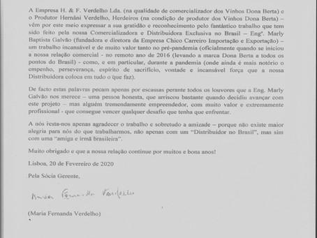 CARTA DE RECONHECIMENTO DA VINÍCOLA DONA BERTA PARA A IMPORTADORA EXCLUSIVA CHICO CARREIRO