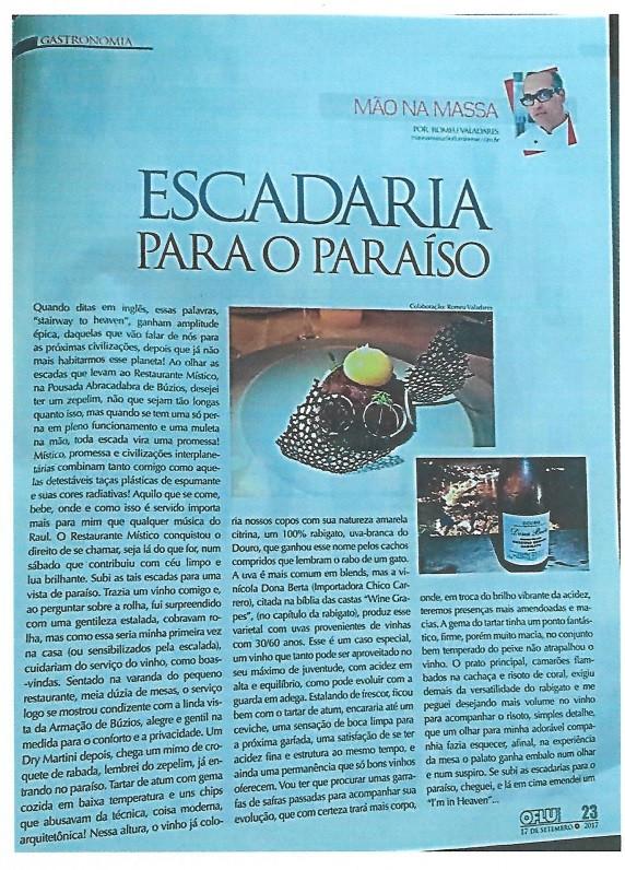 Leiam esta experiência única do Economista, Jornalista e Especialista em gastronomia Romeu Valadares da Revista O FLUMINENSE