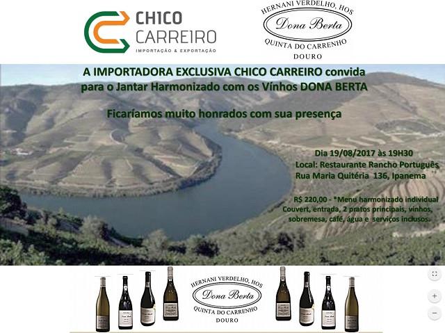 Convite do Jantar Harmonizado Dona Berta - Rancho Português